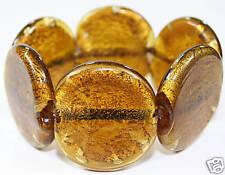 AMBER heavy CHUNKY round MURANO foil GLASS BRACELET