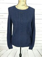 NWT $298 Magaschoni Women's M Navy Wool Blend Knit Lace Detail Sweater 217-4