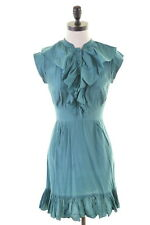 TED BAKER Womens Blouson Dress Size 8 Small Green Silk