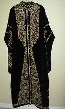 KAFTAN Vtg Robe Black Velvet Embroidery/Metallic Thread Lined Button Down - L