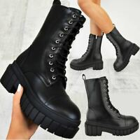 Womens Chunky Military Ankle Boots Lace Up Black Comfy Winter Fashion Shoes Size