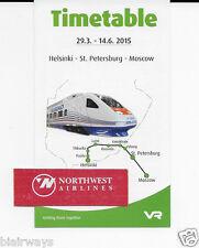 VR RAIL ALLEGRO-TOLSTOI-3-29-2015 TIMETABLE HELSINKI-ST PETERSBURG-MOSCOW