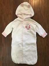 Boutique Absorba Baby Girl 0-3m White Terry Hooded Bath Towel Bunting Sack Euc