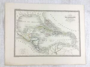 1846 Antique Map of The Antilles Guatemala Gulf Mexico Hand Coloured Engraving