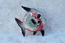 1950s Pink White Gray Ceramic Fish Wall Pocket Plaque Go With Mermaid Bath Decor