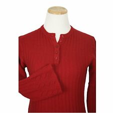 Vtg 70s Womens Sweater S Red Cashmere Valentine Hippy Boho Flared Sleeve Henley