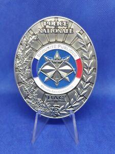 Plaque Police nationale brigade anti criminalité BAC. Medaille de ceinture.