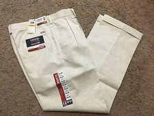 NWT IZOD American Chino Classic-Fit Khaki Double Pleat Pant Stone 30X32 MSRP$50