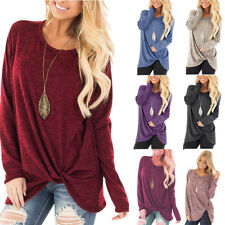 US Womens Autumn Long Sleeve Pure Casual T shirt Ladies Loose Tops Blouse Bottom
