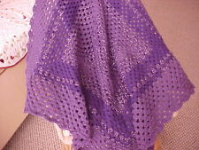"BRAND NEW HOME MADE HAND CROCHET PURPLE AFGHAN BLANKET 37""x 37"""