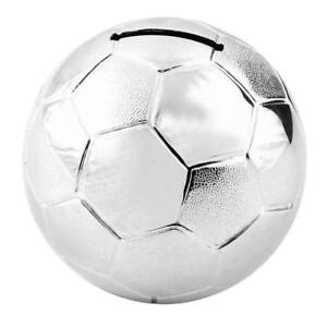 Personalised Silver Plated Football Money Box Christening Birthday Gift
