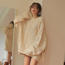 Womens Girl Korean Fashion Oversize Loose Knitted Sweater Dress Jumpers Pullover