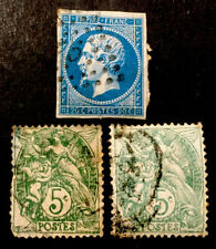 "France ""Napoleon III & Blanc"" 3x VFU STAMPS 1850/1900 LH"
