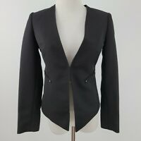 Tahari Arthur Levine Blazer Jacket Hook & Eye Closure Petite Women size 0P Black