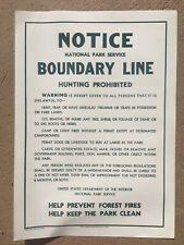 NPS Vintage Linen Cloth Boundary Line Sign, 1960's