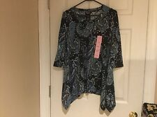 Women's Premise Polyester Top Forever Paisley Blue Size S (NWT)
