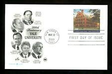 US FDC #UX361 PCS Artcraft Yale University Anniversary 2001 New Haven, CT