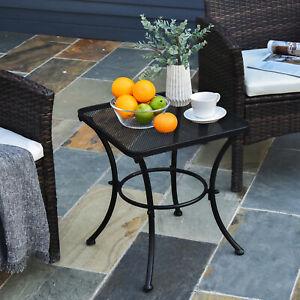 Patio Outdoor Square Metal Outdoor Garden Coffee Dining Bistro Table - Black