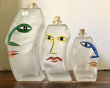 Decorative Hand Painted Art Glass Of Faces Set Of 3