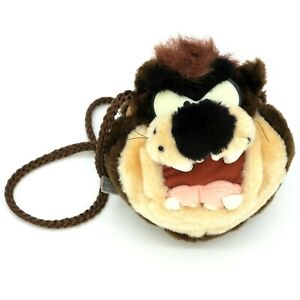 Tasmanian Devil Vintage Looney Tunes TAZ Warner Bros. Small Plush Purse Zip Bag