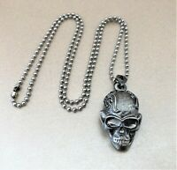 Skull Pendant necklace Goth Punk Style 22 inches long Dog Tag Necklace