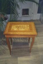 Vintage Mapsa Swiss wooden musical jewellery/sewing box/table, wood inlay, good