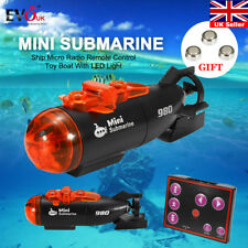 Mini Submarine Ship Micro Radio Remote Control Toy Boat With LED Light