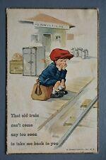 R&L Postcard: Comic, Edward Cross, Sentimental Boy Waiting a Railway Station