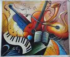 Original abstract oil painting on canvas 20x24 signed music instruments
