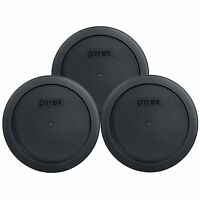 Pyrex 7201-PC 4 Cup Black Round Plastic Storage Lids 3PK for Glass Dish New