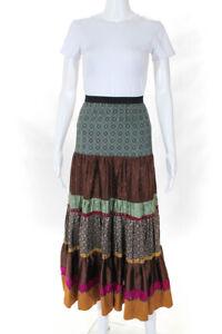 Rozae Nichols Womens Silk A Line Maxi Skirt Multi Colored Size Petite