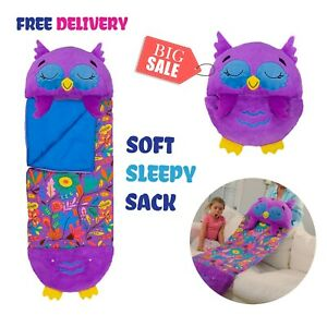 Happy Nappers Chestnut The Owl Pillow & Sleeping Bag Kids Boys Girls Play Pillow