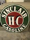 OLD PORCELAIN HEAVY!!! SINGLED SIDED 30 INCH SINCLAIR H-C GASOLINE SIGN