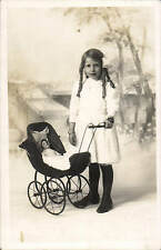 Crewe Studio Photo. Girl & Doll in Pram by H.Bullock, 48 High Street, Crewe.