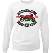 DUCATI 900 MIKE HAILWOOD - COTTON WHITE SWEATSHIRT ALL SIZES IN STOCK