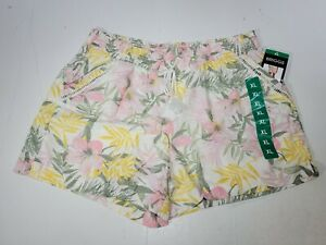 BRIGGS Ladies Linen Blend Pull-On Floral Short Pink Yellow Size XL X-Large NWT