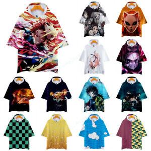 Demon Slayer Kimetsu no Yaiba Kamado Nezuko Tanjirou Short Sleeve Hoodie T Shirt