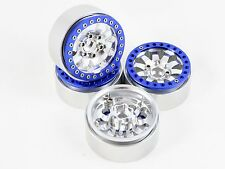 "ALIENTAC Four Blue 1.9"" Wide 1"" Alloy Beadlock Wheel Rim for 1/10 RC Model #014"