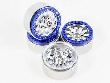 "ALIENTAC Four Blue 1.9"" Wide 1"" Alloy Beadlock Wheel Rim for 1/10 RC Model #014"