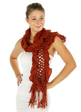 Knit Ruffle Trim Fishnet Scarf Pumpkin With Fringe Accents