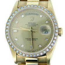 Mens Rolex 18k Yellow Gold Day Date President w/FACTORY Diamond Dial Bezel 18238