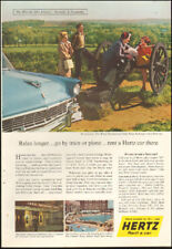 1950's Vintage ad for Hertz Rent a car`Valley Forge Park retro car    (071718)