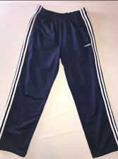 Adidas Navy Blue And White Button Up Striped Sides Unisex Medium Tearaway Pants