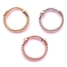 New Surgical Steel Rope Twist Nose Septum Clicker Hoop Ring Rose Gold Silver