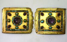 Antique .900 Silver Middle Eastern Amethyst, Turquoise and Garnet Belt Buckles