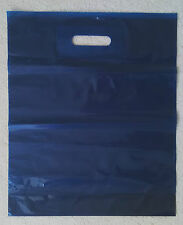 20 x Plastic Carrier Bags - Dark Blue - 38 cm. x 45 cm. with gusset
