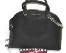 Michael Kors Large Dome Emmy Satchel Black Silver Saffiano Leather NWT $378