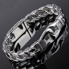 "Fashion Men's Jewelry Stainless Steel Silver Tone Chain Bracelet 8.66"" 11mm"