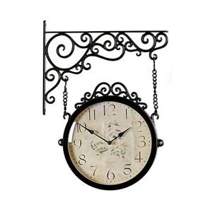 Antique Brown Double Sided Wall Clock Home Decor Modern Station Clock - M250BRF2