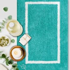Set 2 Ebern Designs Ajoni Space Cowboy Bath Rugs Teal Turquoise Mats NEW NWT